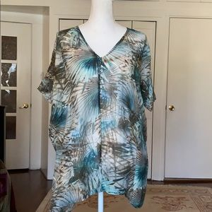 Bryn Walker palm leaf print semi-sheer top